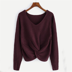 Free Shipping Casual Women V Neck Sweater Pullovers Autumn Winter Women Twisted Jumper Female Knit Sweaters  80920