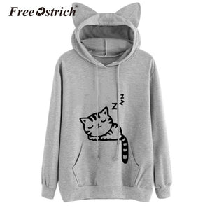 Free Ostrich Fashion Harajuku Women Hoodies Sweatshirt Kawaii Pink Winter Cat Pattern Long Sleeve Moletom Ear Hooded Bts Mujer
