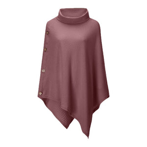 Free Shipping Autumn Winter Woman Turtleneck Sweater Jumper Button Poncho Woman Irregular Long Loose Sweaters Pullovers 80920