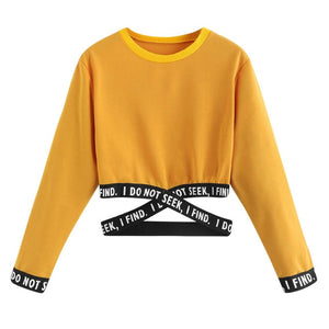 Crop sweatshirt women hoodies winter pullover Harajuku moletom Autumn Female Letters Hoodies clothes sudadera mujer