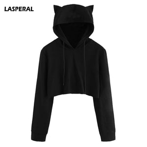 LASPERAL Cute Womens Sweatshirts Hoodie Crop Tops Solid Cat Ear Long Sleeve Cropped Sweatshirt Hooded Pullover 2019 New Autumn