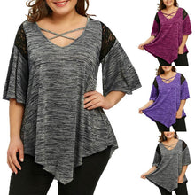 Load image into Gallery viewer, KANCOOLD tops high quality Fashion Plus Size Flare Sleeve Top Asymmetrical Tunic Lace t-Shirt summer tops for women 2018MA7