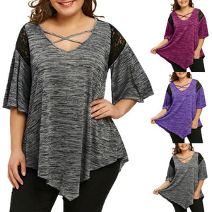 KANCOOLD tops high quality Fashion Plus Size Flare Sleeve Top Asymmetrical Tunic Lace t-Shirt summer tops for women 2018MA7