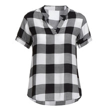 Load image into Gallery viewer, ISHOWTIENDA New Arrival Women Shirts  Plaid Printed Short Sleeve V-Neck Irregular Hem Blouse Ladies Blouses Female blusas mujer