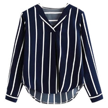 Load image into Gallery viewer, Womens Tops And Blouses Autumn Vintage Long Sleeve Shirt 2018 Women Clothes Striped Korean Ladies Tops Fashion Clothing