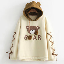 Load image into Gallery viewer, Wear A Bear Cap Hoodies Sweatshirt Top Womens Long Sleeve With A Ribbon Hair Ball Cute Hooded Sweat Hoody Harajuku Sweatshirts 3