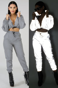 Night Reflective Solid Women Set Casual Long Sleeve O Neck Sexy Crop Top With Pants Tracksuit Night Club Party Suit Female Set