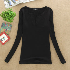 Women Korean t shirt Basic V Neck Long Sleeve Fitted Plain Top Solid Stretch Shirt Autumn Clothing Tops Slim T shirts harajuku