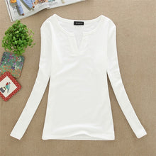 Load image into Gallery viewer, Women Korean t shirt Basic V Neck Long Sleeve Fitted Plain Top Solid Stretch Shirt Autumn Clothing Tops Slim T shirts harajuku