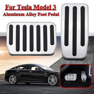 2 Pcs Non-Slip Performance Aluminium alloy Accelerator Foot Rest Modified Pedal Pads Kit for Tesla Model 3 Brake Replacement