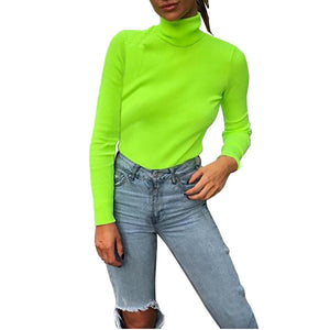 Fashion Turtuleneck Knitted Sweater Women Fluorescent Green 2018 Autumn Winter Casual Long Sleeve Sweater Pullovers X1