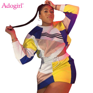 Adogirl Color Patchwork Women Tracksuit Two Piece Set Dress Long Sleeve Pullover Sweatshirts Top + Mini Skirt Night Club Outfits