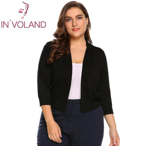 IN'VOLAND Plus Size Women Solid Cardigan oversized Autumn Cropped Bolero Party Large Feminino Sweater Cardigan