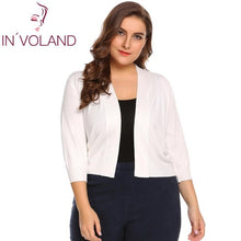 Load image into Gallery viewer, IN'VOLAND Plus Size Women Solid Cardigan oversized Autumn Cropped Bolero Party Large Feminino Sweater Cardigan