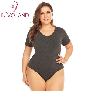 IN'VOLAND Plus Size Bodysuits Women Short Sleeve Female Overall Summer Jumpsuit Sexy Cotton oversize Body Suit