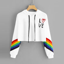 Load image into Gallery viewer, Fashion Female Long Sleeve Hoodie Pullover Sweatshirt Rainbow Letter Print Women's Sweatshirt Tops Ladies clothes felpe donna