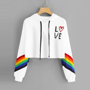 Fashion Female Long Sleeve Hoodie Pullover Sweatshirt Rainbow Letter Print Women's Sweatshirt Tops Ladies clothes felpe donna