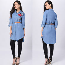 Load image into Gallery viewer, Free Ostrich Rose Embroidered Women Long Sleeve Collared Long Shirt Top Turn-down Collar Blue Shirts blusas mujer de moda C2735