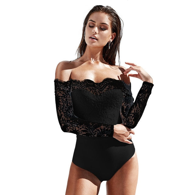 Elegant Lace Patchwork Jumpsuit Women Sexy Off Shoulder Slash Neck Long Sleeve Bodycon Bodysuit Casual Solid Female Body Overall
