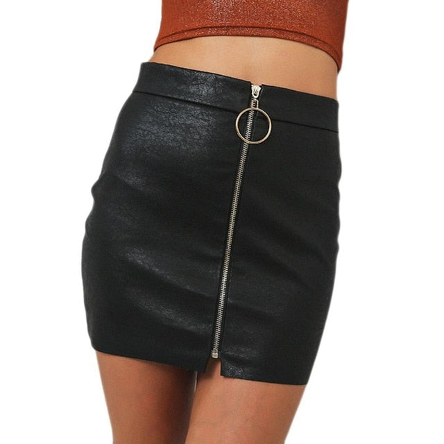 New Office Lady Zipper Up Faux Leather Skirts Intellectual Sexy Metal Ring zipper Hip Tight Sexy Pu Mini Skirt