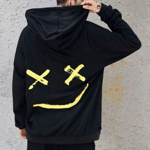 Men Sweatshirt Hoodie Men Teen's Contrast Color Smily Face Fashion Print Hoodies Sweatshirt Jacket Pullovers 2018 Autumn Winter