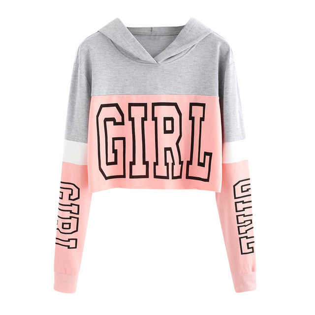 Harajuku Hoodies Sweatshirt Women Streetwear Letter Crop Top Hoodie 2018 Autumn Women Fashion Clothes Korean Moletom