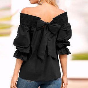 Sexy Off Shoulder Bowknot Blouse Spring Summer Strapless Women Tops Slash Neck Shirts Casual Loose Blusas Plus Size