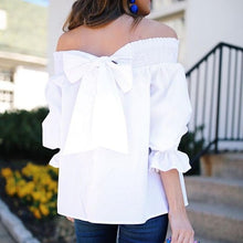 Load image into Gallery viewer, Sexy Off Shoulder Bowknot Blouse Spring Summer Strapless Women Tops Slash Neck Shirts Casual Loose Blusas Plus Size