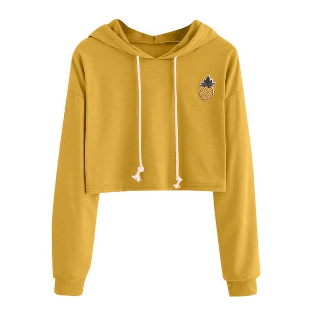 Women Hoodies Sweatshirts Long Sleeve Hooded Sweatshirt Appliques Pinapple Jumper Hooded Pullover Tops Blouse For Female  0912