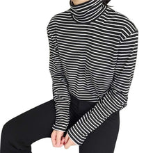 Load image into Gallery viewer, Women Turtleneck Korean Style T Shirt Harajuku Top Long Sleeved Striped Tops female T shirt Summer casual tops Large Size