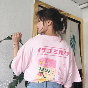 Korean Korea Women Fashion Clothing Summer Letter Print Casual Preppy Pink Loose T shirt Tops