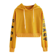 Load image into Gallery viewer, Womens Letters Long Sleeve Hoodie Sweatshirt Pullover Tops Blouse Harajuku Hoodies Cropped Fashion XS-XL Womens Hoodie