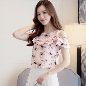 Off Shoulder Short Sleeve Blouses Print Floral Chiffon Shirts Casual Ladies Clothing Female Blusas Women Tops