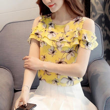 Load image into Gallery viewer, Off Shoulder Short Sleeve Blouses Print Floral Chiffon Shirts Casual Ladies Clothing Female Blusas Women Tops