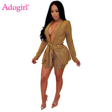 Load image into Gallery viewer, Adogirl Houndstooth Plaid Women Casual Two Piece Set Office Lady Business Suit Long Sleeve Slim Coat with Belt + Shorts Workwear