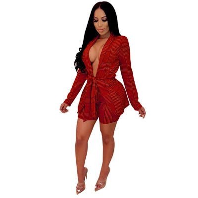 Adogirl Houndstooth Plaid Women Casual Two Piece Set Office Lady Business Suit Long Sleeve Slim Coat with Belt + Shorts Workwear