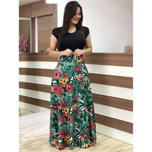 Load image into Gallery viewer, Summer Autumn Ladies Dress Sexy Plus Size Party Dress Slim Flower Printed Short-Sleeved Long Dresses
