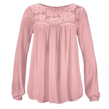 Load image into Gallery viewer, Lace Patchwork Shirt Women Casual Long sleeve Tops Blouse Solid Color Large size Ladies Loose Tops Shirts Female Blusas /PT