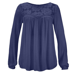 Lace Patchwork Shirt Women Casual Long sleeve Tops Blouse Solid Color Large size Ladies Loose Tops Shirts Female Blusas /PT
