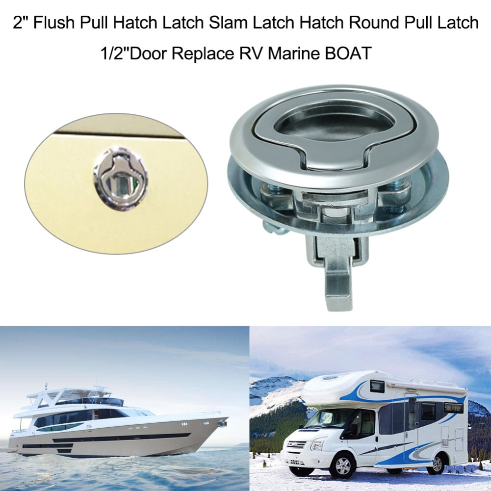Camper Car Flush Pull Slam Latch Hatch with Lock 2 Inch Door for RV Marine Boat Deck Hatch Caravan Motor Home Cabinet Drawer