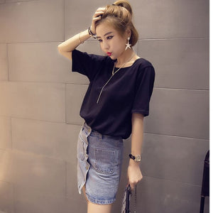 Sexy Backless Hollow Out T-shirt Tops Women Summer Short Sleeve Solid Color Loose T Shirt Casual Plus Size Tee Shirt Femme