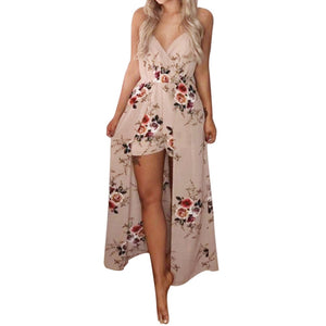 Free Ostrich Elegant Sexy Women Summer Sleeveless Flower Playsuit Beach Trousers ,jumpsuit women short playsuit women D1335