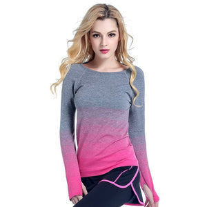 Women T-Shirts Gradient Colors Casual Dry Quick Absorbent T Shirt Long Sleeve Tees Tops