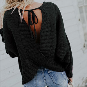 Autumn Sweater Backless Jumper Knitted Pullover Women Sexy Top For Ladies Female Solid Sweaters Winter Autumn Pullover Femme