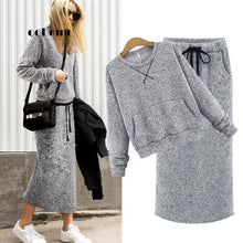 Load image into Gallery viewer, Echoine Two Piece Set Women Cashmere Hoodie Tops Pockets Gray Casual Calf-Length Skirt Lace Up Maxi Dress Suit Female Outwear