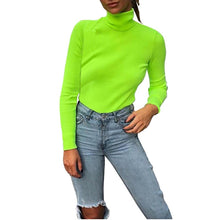Load image into Gallery viewer, Women Fashion Turtuleneck Knitted Sweater Women Fluorescent Green 2018 Autumn Winter Casual Long Sleeve Sweater Pullovers