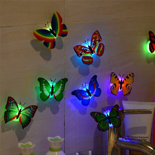 1 Pcs 3D Wall Stickers Butterfly LED Lights DIY Xmas Wall Stickers Butterflies Christmas House Decoration Dropshipping Aug#1