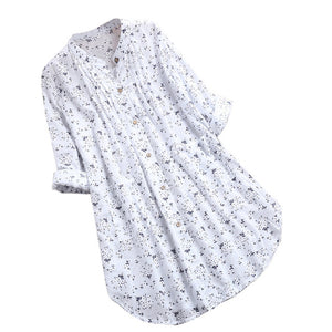 Womens Blouses V-Neck Pleated Floral Print Long Sleeve Casual Tops Blouse Dames Blouses Lange Mouwen Blusas Ladies Tops