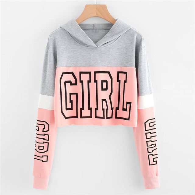 GIRL Print Color Block Women Cropped Sweatshirt Hoody Pullover Blouse Woman Girls Crop Top Streetwear Spring Autumn Shirt 90117