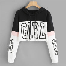 Load image into Gallery viewer, GIRL Print Color Block Women Cropped Sweatshirt Hoody Pullover Blouse Woman Girls Crop Top Streetwear Spring Autumn Shirt 90117
